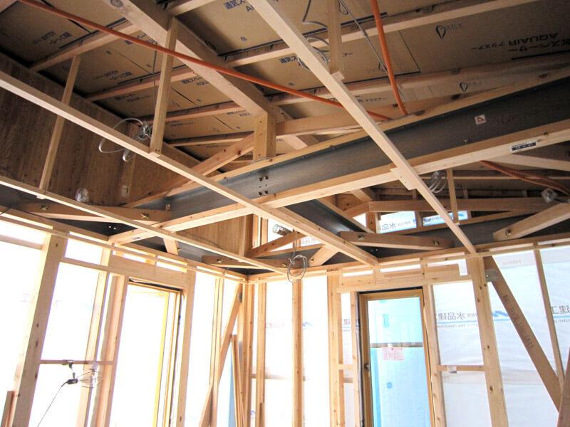 耐震工法テクノストラクチャーによる耐震住宅の建築風景