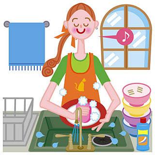 キッチンで食器を洗う