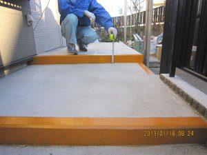 埼玉県川口市の介護リフォーム(玄関等)の事例写真・リフォーム後の階段の段差