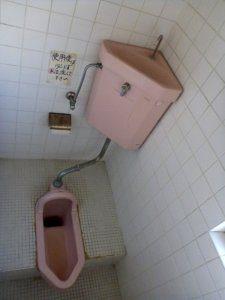 トイレは、和式で、汚れがこびりついている。