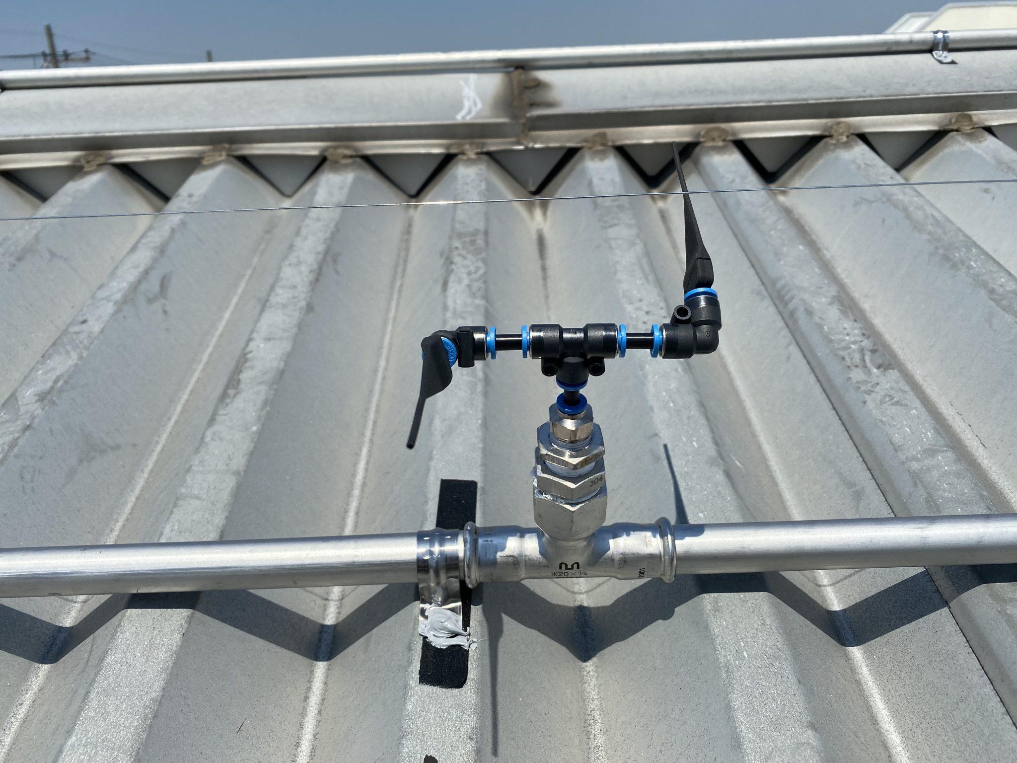 散水装置による工場冷却の事例(埼玉県川口市)